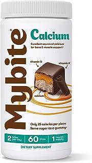Mybite Calcium Chocolate Supplement, 60 Bites, Calcium Plus Vitamin D and K to Support Bone and Immune Health