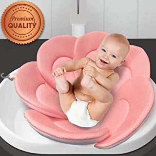 IndulgeMe Baby Bath Cushion - Konjac Sponge Included, Blooming Flower for Infant Bathing Tub, Bathtub or Plastic Sink Bather, Organic Baby Bath Seat Support for Newborn Skin. Pink