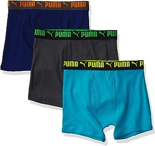 PUMA Boys' 3 Pack Cotton Boxer Brief, Scuba Blue/Grey/Navy, Large