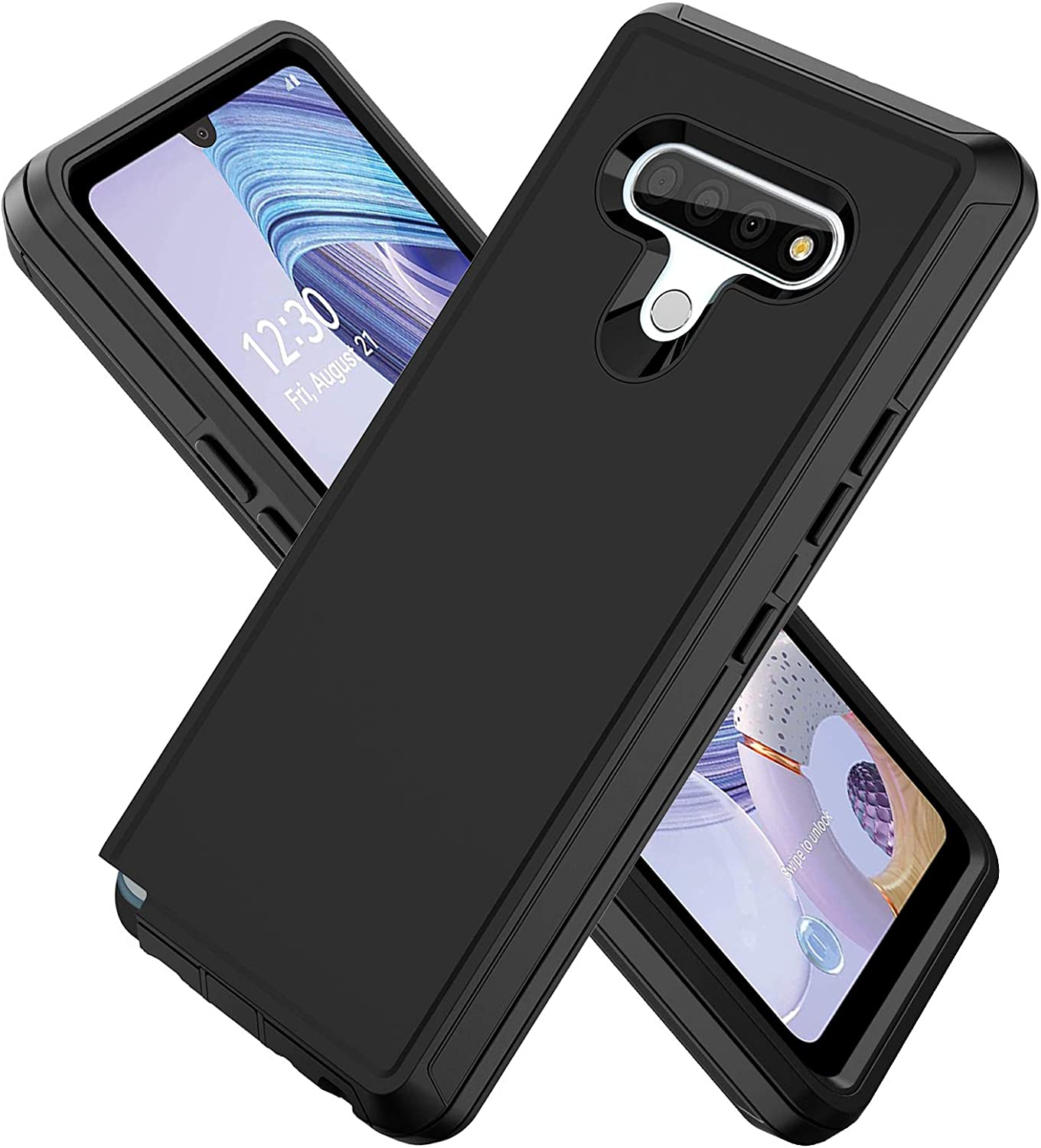 ACAGET for LG Stylo 6 Case Heavy Duty Protective Armor Shock-Absorbing Dual Layer Rubber TPU + PC Cover with Anti-Dust Plug Non-Slip Shell Bumper Phone Cases for LG Stylo 6 Black