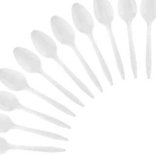 Plasticpro Cutlery 800 Mediumweight White Disposable Plastic Tea Spoons