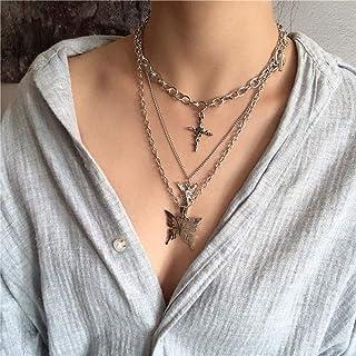 YERTTER Dainty Unique Punk Layering Chain Choker Necklace Boho Jewelry Set Layered Butterfly Pendant Statement Chunky Chai...