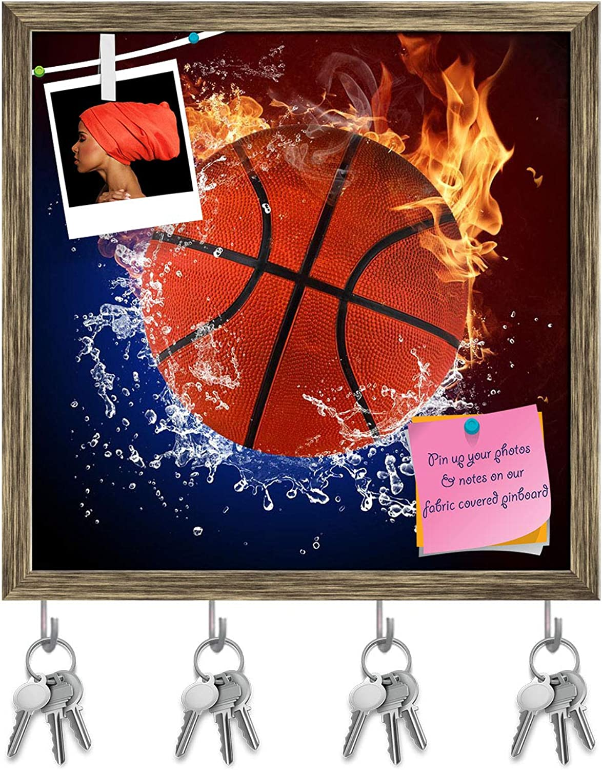 Artzfolio Basketball Ball in Fire Flames & Splashing Water Key Holder Hooks   Notice Pin Board   Antique golden Frame 20 X 20Inch