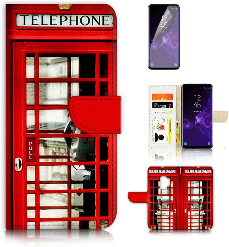 (for Samsung Galaxy S9) Flip Wallet Case Cover & Screen Protector Bundle - A0096 British Phone Booth Red