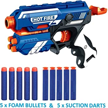 The Flyer's Bay Foam Blaster Gun Toy, Safe and Long Range, 10 Bullets