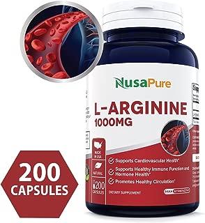 L-Arginine 1000 mg 200 Capsules (Non-GMO & Gluten Free) Amino Acid Arginine HCL Supplements for Women & Man - Supports Circulation and Cardiovascular Health