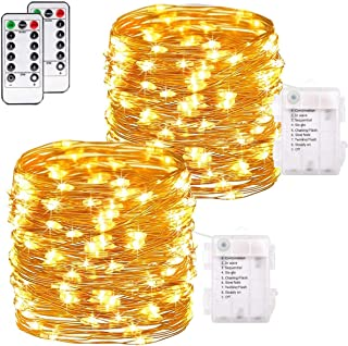 buways 2 Pack 75 LED 24.6ft Battery Operated Fairy String Lights with Remote, Waterproof 8 Modes Copper Wire Firefly Lights Control Christmas Decor Christmas Lights Warm White