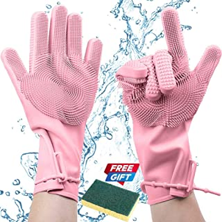 Silicone Magic Dishwashing Gloves with Scrubber, Latex Free Scrub Cleaning Gloves  Reusable Rubber BPA Free  Multi-use for Restaurant/Kitchen/Bathroom/Toilet/Car Wash/Pet Hair Care Dog Grooming