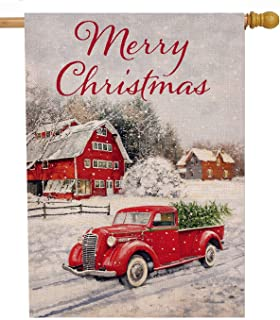 Selmad Merry Christmas 28 x 40 House Flag Red Truck Double Sided, Winter Farmhouse Rustic Quote Burlap Garden Yard Xmas Pickup Décor, Outside Holiday Snow Farm Seasonal Decorative Outdoor Large Flag