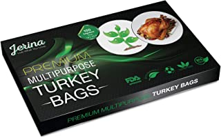 """Jerina Turkey Bag Oven Bags: Food Safe Multipurpose Turkey Bags/Home and Garden Bags for Cooking, Freezing, Preserving, Harvesting - Large 19"""" x 23.5"""" Turkey Size Nylon Bags - Bulk 100 Count, Clear"""