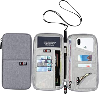 Travel Passport Wallet Family Passport Holder RFID Blocking Neck Pouch for Women and Men,Grey