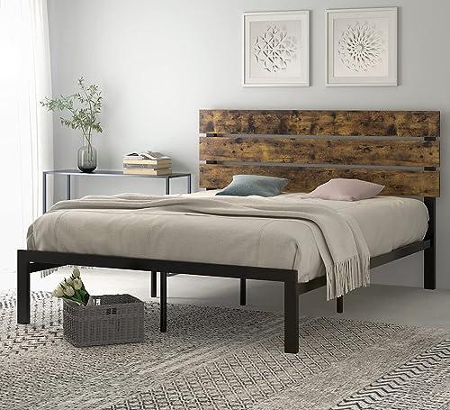 SHA CERLIN Queen Size Platform Bed Frame with Wood headboard