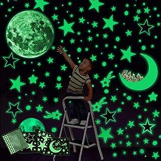 Yolistar Autocollants Lumineux 472 Pcs,phosphorescentes Stickers,Lune Étoiles Lumineuses Stickers Muraux Décoration de Pla...