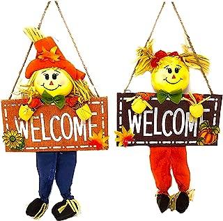 CTGB Inc Welcome Scarecrow Set Boy Girl Decoration Harvest Thanksgiving Door Wall Room Indoor Outdoor 18