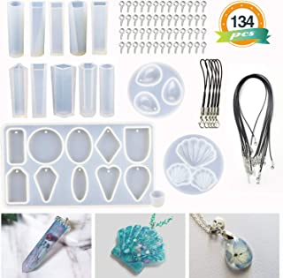 LET'S RESIN Pendant Molds 14 Pcs Resin Jewelry Molds, Silicone Molds for Epoxy Resin, UV Resin, Resin Casting Molds for Jewelry Making DIY Craft