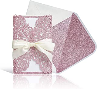Laser Cut Wedding Invitations with Envelopes - 25pcs Pink Glitter Hollow Rose Invitation Cards with Pink Inner Sheet,Ivory Ribbon,White+Pink Glitter Envelopes for Wedding Bridal Shower (4.7'' x 7')