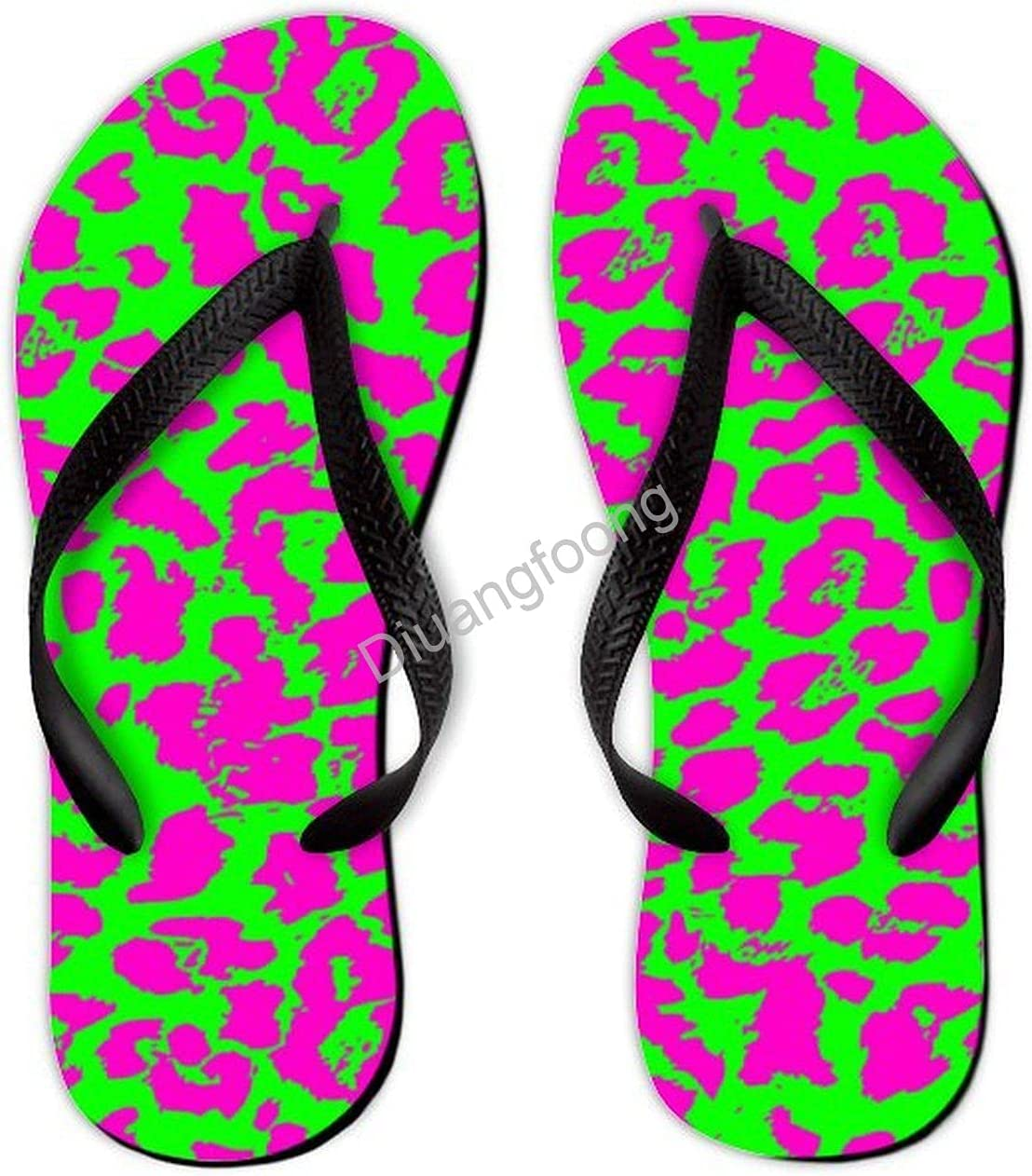 Leopard Flip Flop Beach Colorful Thong Sandal Pretty Sandal For Home Bathroom Party Black Style3