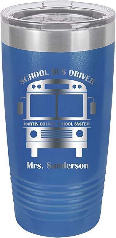 School Bus Driver Aide Personalized Engraved Insulated Stainless Steel 20 Oz Tumbler