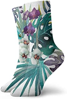 AEMAPE, Orquídea Hibiscus Leaves Tropics Palm Cushion Crew Calcetines Essential Sport Wicking Work para hombres y mujeres