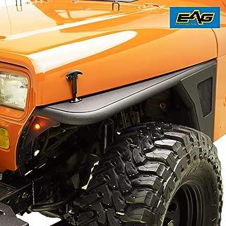 EAG Fender Flare Rocker Guard Off Road Front Armor with LED Eagle Light Fit for 87-95 Jeep Wrangler YJ