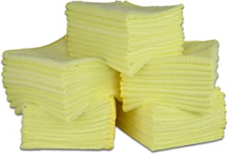 """12"""" X 12"""" All Purpose Microfiber Towels - 50 Pack  No Fraying   High Density Microfiber   Chemical Free Cleaner   Long-Lasting (Yellow)"""