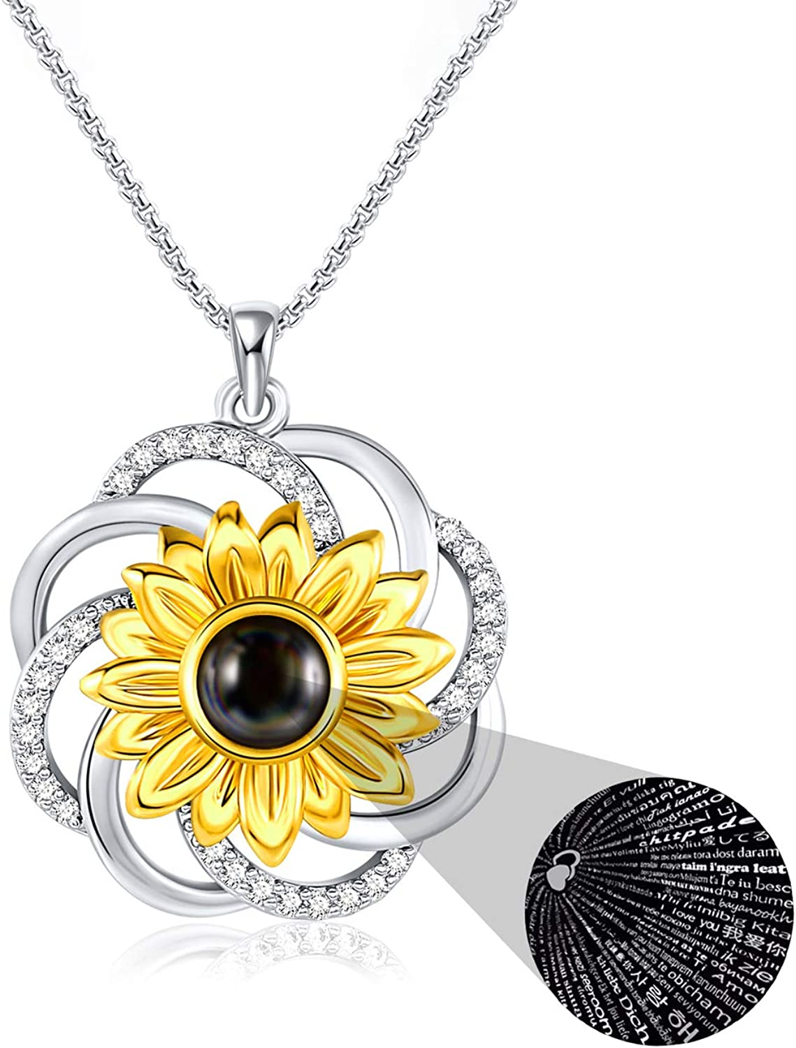 SNZM Sunflower Necklace for Women - 100 Languages I Love You Necklace Anniversary Present for Wife Girlfriend Her