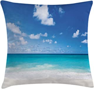 Ambesonne Ocean Throw Pillow Cushion Cover, Tropical Exotic Sandy Beach Caribbean Sea Bay Barbados Coastline Summertime, Decorative Square Accent Pillow Case, 20
