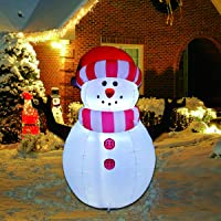 Goosh 5 FT Height Christmas Inflatables Outdoor Snowman with LED Lights