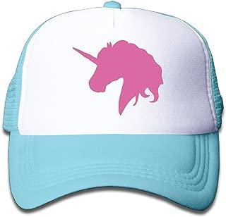 Kids Pink Unicorn Polo Horse Trucker Hats Youth Mesh Caps, Snapback Baseball Cap