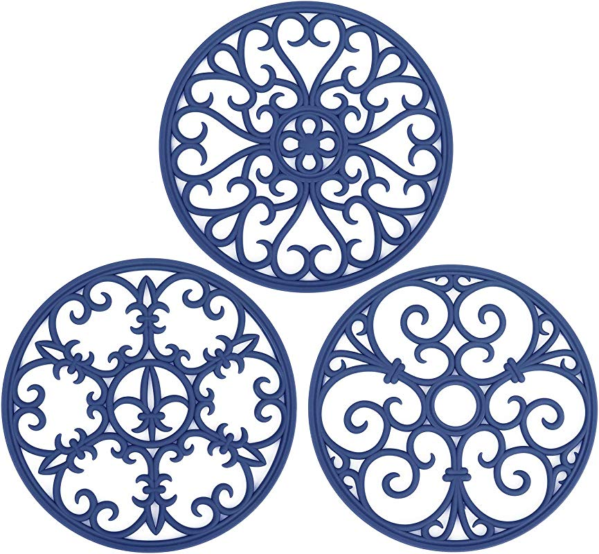 Non Slip Silicone Carved Trivet Mats Set For Dishes Heat Resistant Coasters Modern Kitchen Hot Pads For Pots Pans Round Set Of 3 Navy Blue