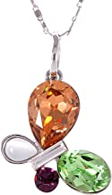 Alilang Abstract Ring Dangle Flutter Colorful Pastel Swarovski Crystal Pendant Necklace