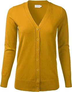 FLORIA Women's V-Neck Long Sleeve Button Down Boyfriend Fit Knit Cardigan Sweater (S-XL)