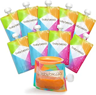 Baby Brezza Reusable Baby Food Storage Pouches, 10 Pack 7oz - Make Organic Food Puree for Kids or Toddlers and Store in Re...