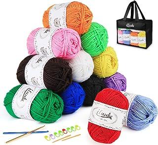 ilauke Pelotes de Laine en Acrylique 12x50g Kit de Fil Acrylique Hyper Doux pour Tissage à La Main avec 2 Crochet Gratuit,...
