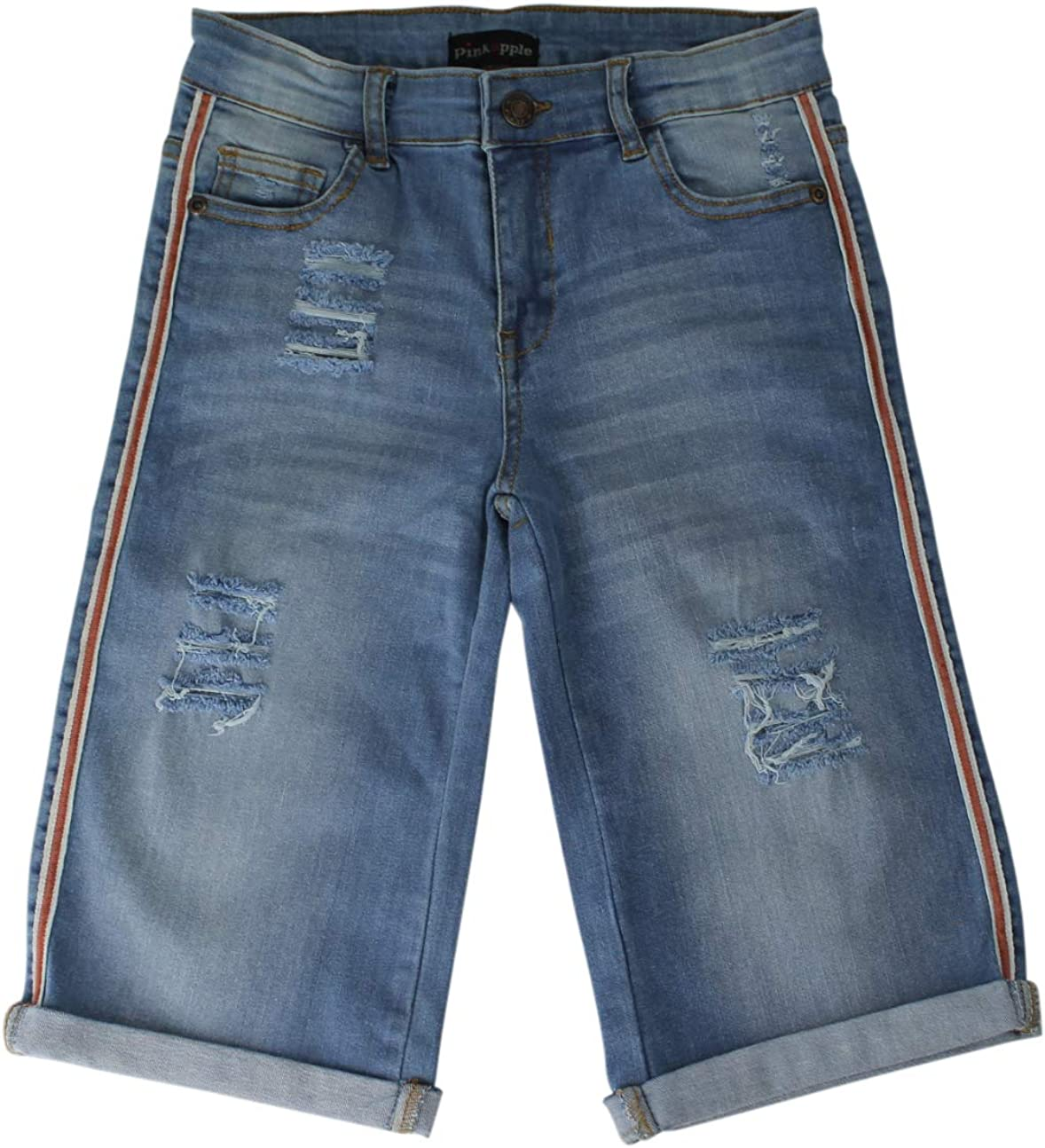 7-13 Years Ozmoint Girls Stretch Denim Side Stripe Long Peddle Pusher Shorts with rips and 5 Pockets Jean