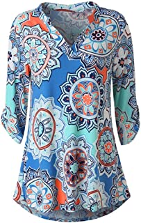 Dubocu Women's Long Sleeve Tops Blouse Floral Printed Roll-Up Top Button Blouses
