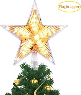 YUNLIGHTS 8 Inch Lighted Christmas Tree Topper, Classic 5 Point Star Treetop with 20 LED, Warm White Clear Light for Christmas Tree Decoration