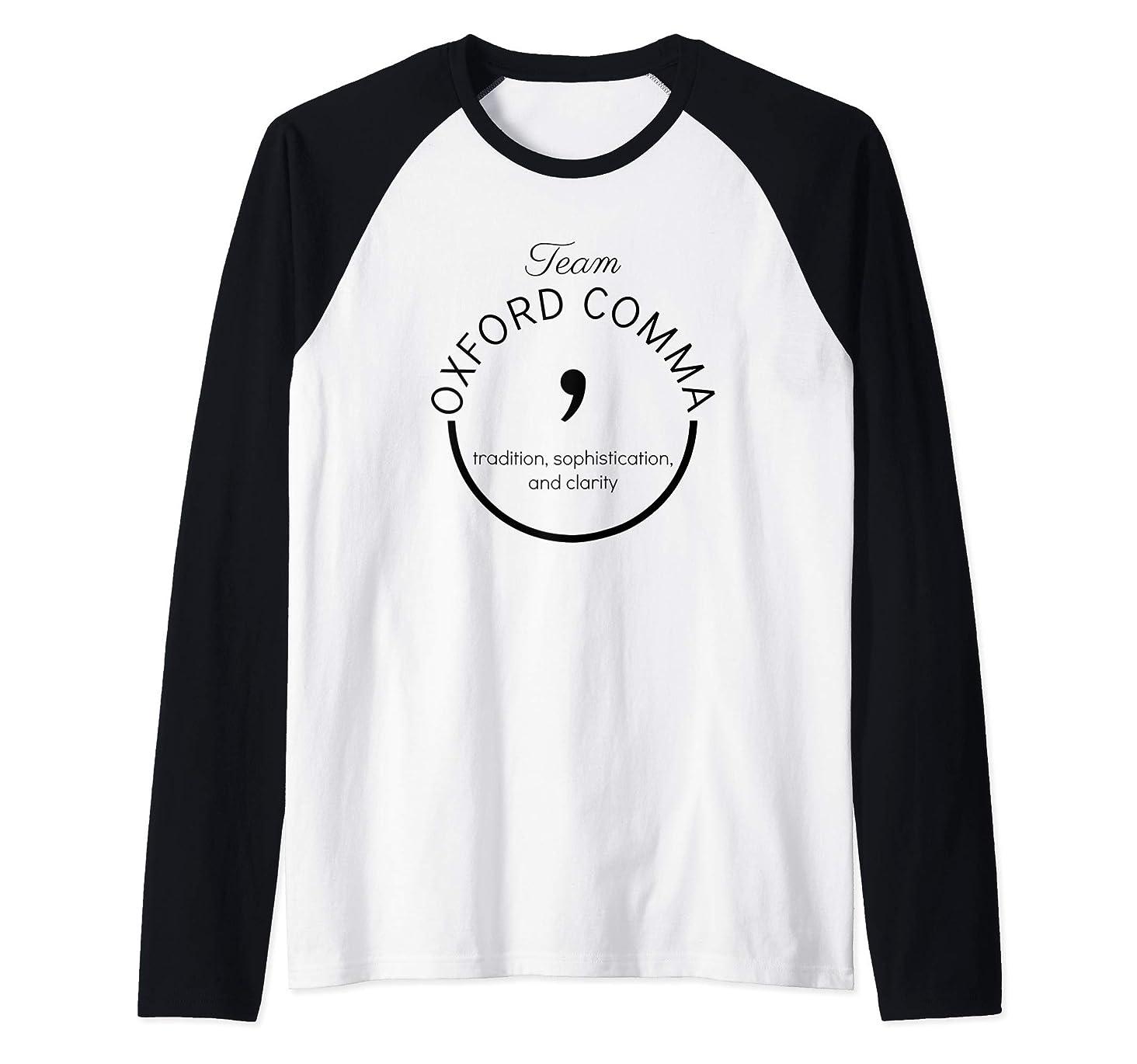 Writer Editor Gift Team Oxford Comma Grammar Police Shirt Raglan Baseball Tee