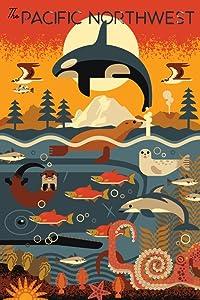 Pacific Northwest, Marine Animals, Geometric 87042 (12x18 Art Print, Wall Decor Travel Poster)