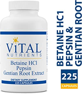 Vital Nutrients - Betaine HCL Pepsin & Gentian Root Extract - Powerful Digestive Support for the Stomach - Gluten Free - 225 Capsules per Bottle