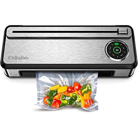 CalmDo Mothers Day Gifts, Vacuum Sealer Machine with Automatic Bag Detection and Cleaning System, Fully Automatic Food Sealer for Food Saver, Compact Design with Built-in Cutter and Roll Bags, V77