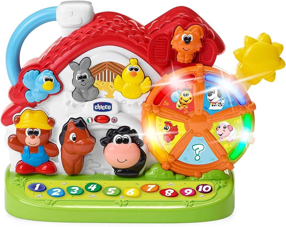 Chicco fattoria parlante bilingue italiano/inglese, fattoria con animali per bambini con 3 livelli di abilità 00009604000000
