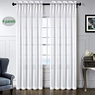 sgofais Sheer Curtains Rod Pocket White Semi Sheer Transparent Soft Thin Elegance Voile for Home Décor,4 Panels (52x84 inch White)