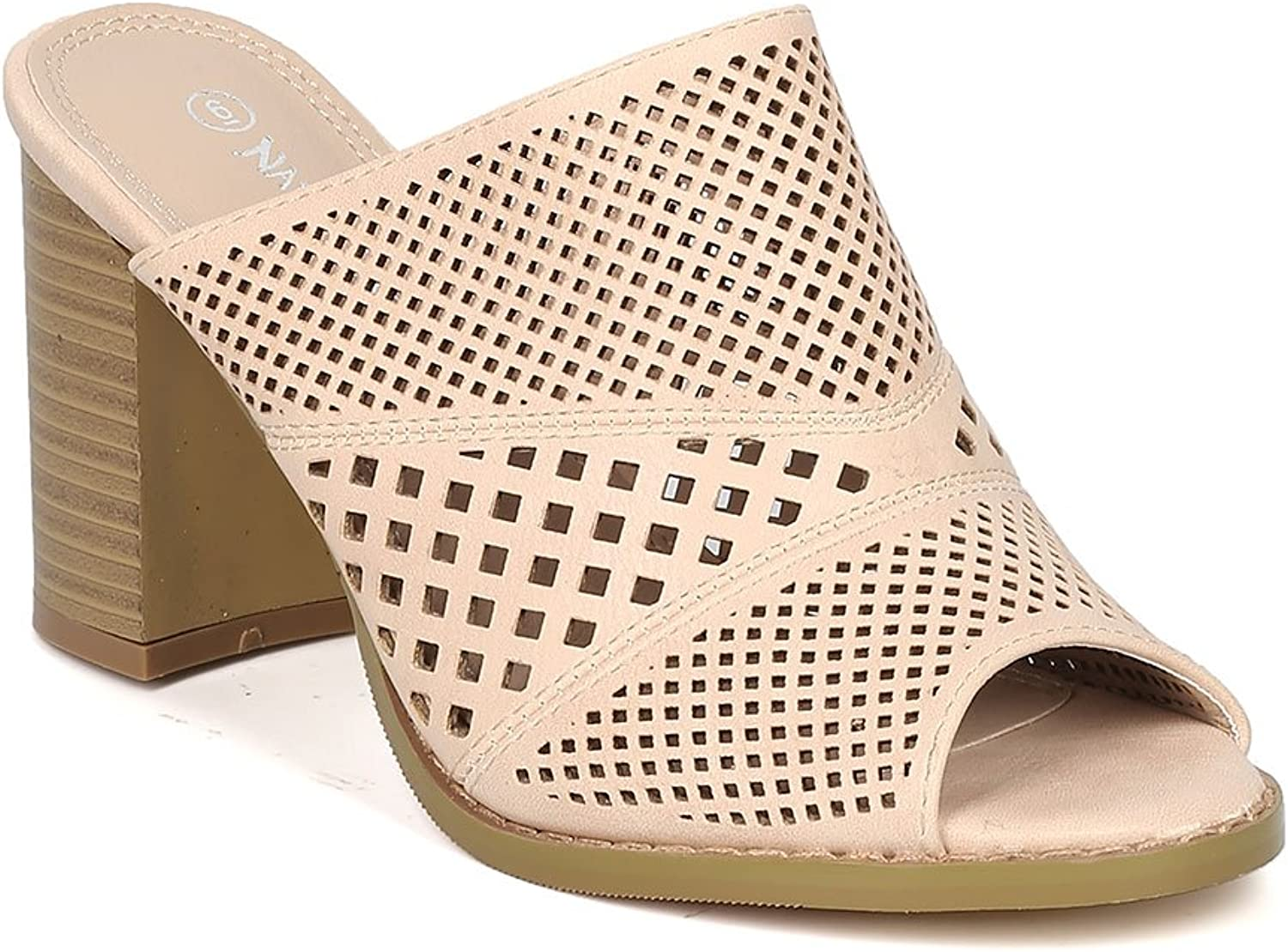 Women Leatherette Peep Toe Perforated Chunky Heel Mule GF53