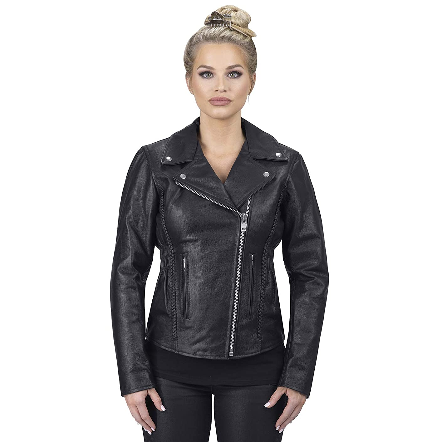 Viking Cycle Cruise Premium Grade Cowhide Leather Motorcycle Jacket for Women