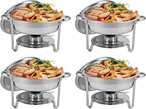 Restlrious 4 Packs Round Chafing Dishes Stainless Steel Foldable Chafers and Buffet Warmers Sets w/Water Pan, Food Pan, Fuel Holder and Lid 5 QT