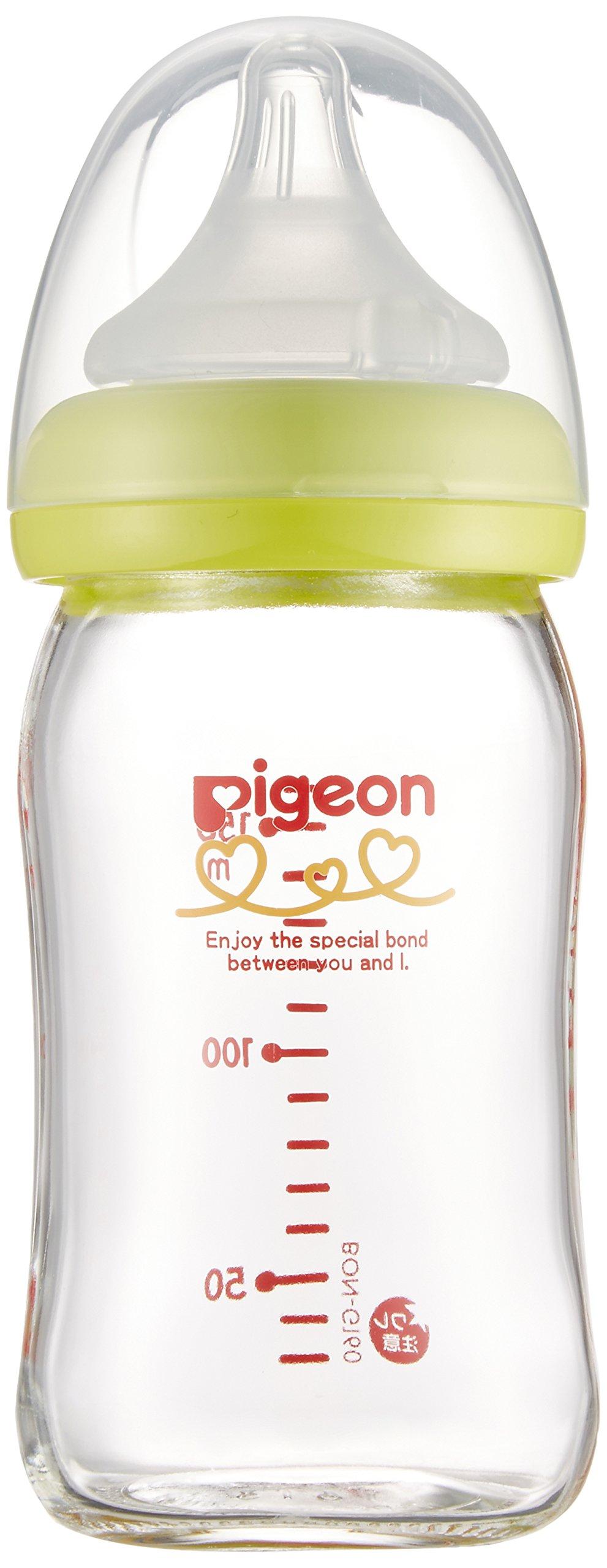 ピゲンボトル、母乳、耐熱ガラス、ライトグリーン、160ml、0ヶ月、サポート母乳瓶