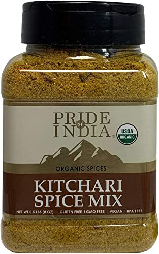 Pride Of India - Organic Indian Kitchari Spice Seasoning - 8oz (227gm) Sifting Jar - Make Perfect Tasting Rice & Lentil Pilaf - No Prep Needed - Blended with 7 Unique Vegan Spices - Mild Curry Flavor product image