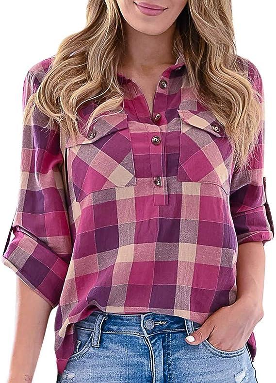 Camisa a Cuadros fácil Mujer con Botones Blusa Cuello Pico ...