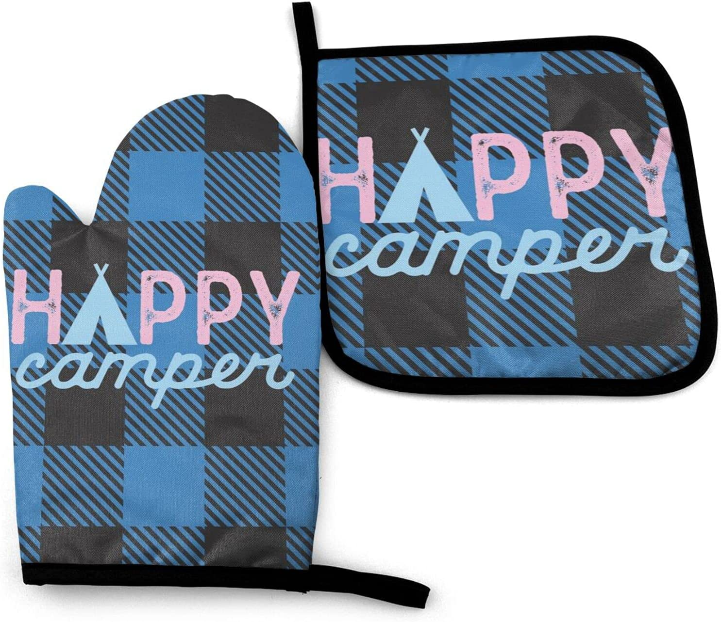 Happy Camper Oven Mitts Popular brand in the world and Japan's largest assortment Pot Mi Kitchen Non-Slip Set Holders